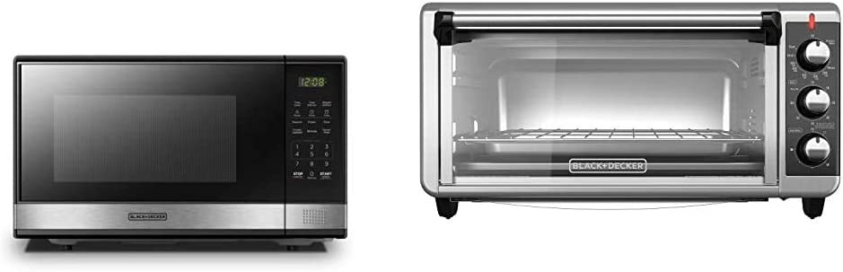 BLACK+DECKER EM031MB11 Microwave Oven with Turntable Push-Button Door & TO3250XSB 8-Slice Extra Wide Convection Countertop Toaster Oven, Includes Bake Pan, Broil Rack & Toasting Rack, Black