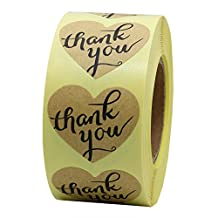 "Hybsk(TM) 1.5"" Love Heart Brown Kraft Paper Thank You Stickers with Heart Adhesive Label 500 Per Roll"