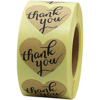 "Hybsk(TM) 1.5"" Love Heart Shape Kraft Paper Thank You Stickers with Heart Adhesive Label 500 Per Roll"