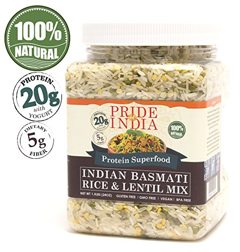 Pride Of India - Indian White Basmati Rice & Lentil Kitchari Mix - Protein Superfood, 1.5 Pound Jar