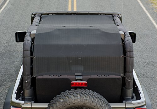 ALIEN SUNSHADE Jeep Wrangler Mesh Bikini Top Cover Extra Long with 10 Year Warranty Provides UV Protection for Your 2-Door JK (2007-2017)