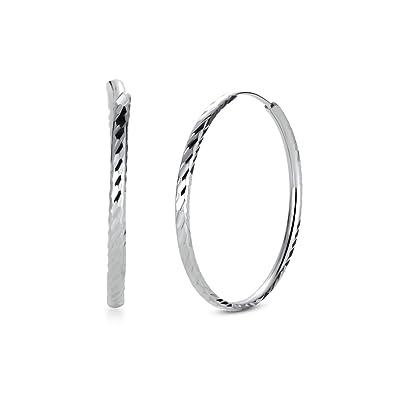 73d365cc4 T400 Jewelers 925 Sterling Silver Diamond Cut sleeper Hoop Earrings,Size:25-65mm:  Amazon.co.uk: Jewellery