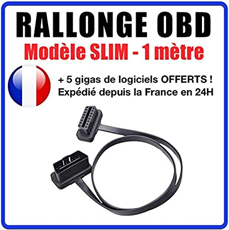 C/âble Rallonge Diagnostic de Voiture OBD2 C/âble dExtension OBD2 16 Broches M/âle /à Femelle 30cm//60cm//100cm 100CM