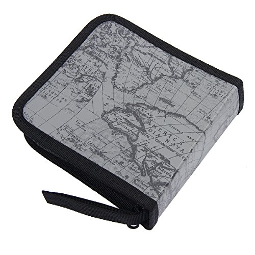 Mochiglory EVA World Map Pattern CD/DVD Bag 40/80 Discs Storage Carry Case Holder Wallet Carry - Cd Dvd 40