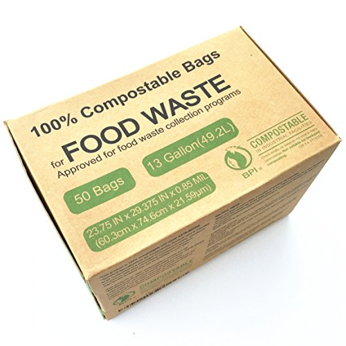 Unni ASTM6400 Certified Compostable Bags, 13 Gallon, 50 Count, Heavy Duty 0.85 Milliliters, Tall Kitchen Trash Bags, Biodegradable Food Waste Bags, US BPI and European VINCETTE - Bags Trash Biodegradable Kitchen