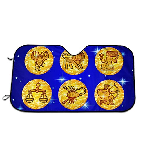 Set Gold Foil Circles With Zodiac Symbols On Blue Windshield Sun Shade,UV And Sun Protection Foldable Sunshade For Car Windshield Will Keep Your Car Cooler- Windshield Sunshade Sun And Heat Reflector