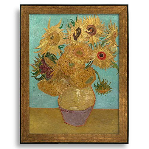 Sunflower by Vincent Van Gogh Framed Art Print Famous Painting Wall Decor Bronze and Black Frame