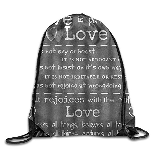 Inspirational Quotes About Love   Love Is Patient Cool Drawstring Travel Sports Backpack Gift