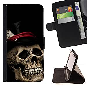- Top Hat Poker Cards Halloween Metal Music - - Prima caja de la PU billetera de cuero con ranuras para tarjetas, efectivo desmontable correa para l Funny HouseFOR Apple Iphone 6 PLUS 5.5