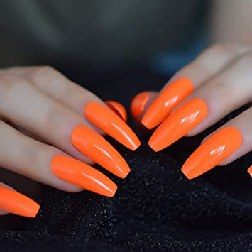 EchiQ Fashion - Uñas postizas de color liso, color naranja ...