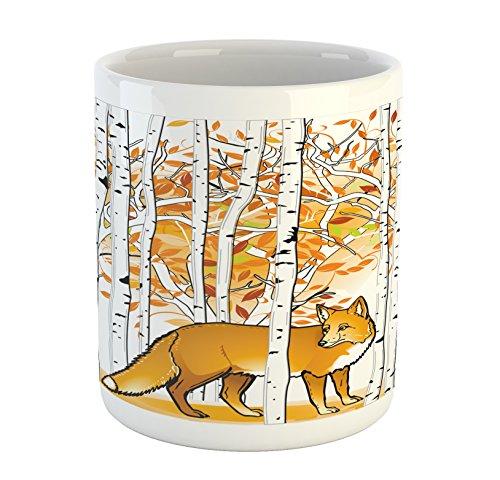Ambesonne Hunting Mug, Fox Hunting in Autumn Forest Birch Trees Rustic Life Wilderness Animal, Printed Ceramic Coffee Mug Water Tea Drinks Cup, Orange White Black by Ambesonne