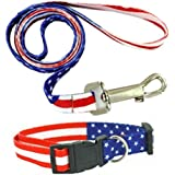 Dog Collar and Leash American Patriotic 2 Pack Combo Set By Toyz 4 Pets