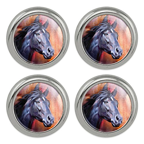 Black Horse Portrait Painting Indigo Night Metal Craft Sewing Novelty Buttons - Set of 4 ()