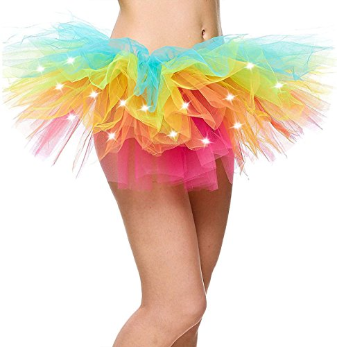 Rainbow Tutu for Women Led Light Up Neon Party Dance Tutu Skirt, (Rainbow Tutu Adults)