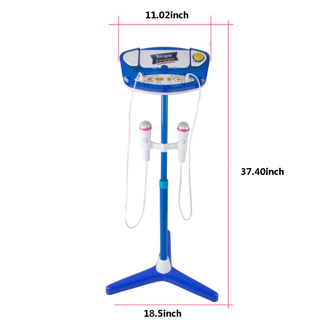Haoun Kid's Karaoke Machine, Children Karaoke Disco Singing Toy,2 Microphones Adjustable Stand,Connect to Phones MP3 Players,Christmas Birthday Gift for Girl Boy - Blue by Haoun (Image #2)