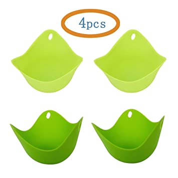 hycc silicona huevo huevos vasos, conjunto de 4 verde caza furtiva monodosis para cocinar perfecto