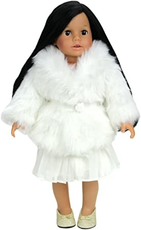 """Doll Clothes Black Dress Coat W Hat Fur Winter Outfit For 18/"""" American Girl"""
