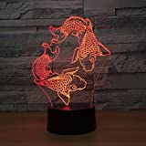 Visual 3D Lamp Gold Fish Toys 2D Night light Xmas Chirstmas Festival Birthday Valentines Day Gift Nursery Bedroom Desk Table Decoration for Baby Kids children Lovers