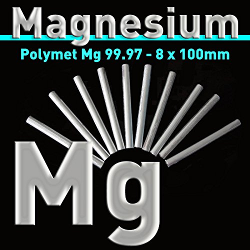 100  x 8  mm, MG Pure Magnesium Electrode 99.97% Magnesium Rod Stick Bar Anode Pen Pure Magnesium Anode, 1 Polymet