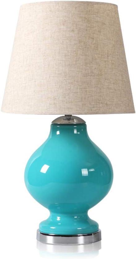 Xxw lamp Lámpara de Mesa de Cristal Azul Dormitorio de la Cama ...