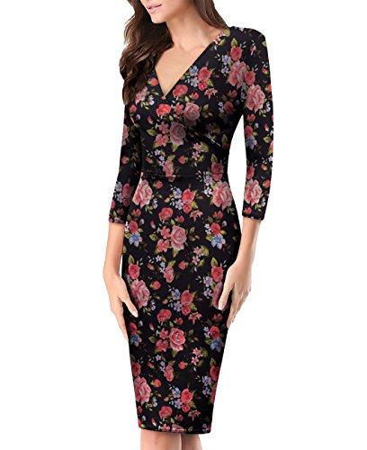 Women's Plum Cross V Neck MIDI Dress KDR44322 10748 Black/MAUV S