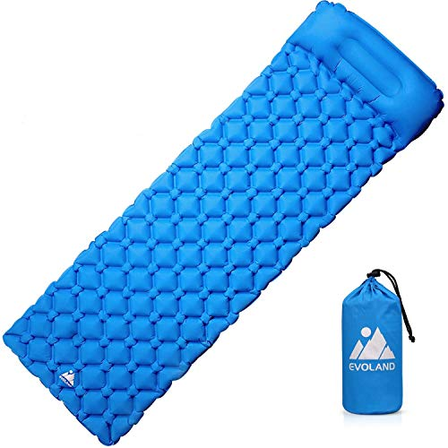 EVOLAND Ultralight Sleeping Pad for Camping, Inflatable Lightweight Compact Camping Sleeping Air Pads with Pillow for Backpacking, Hiking