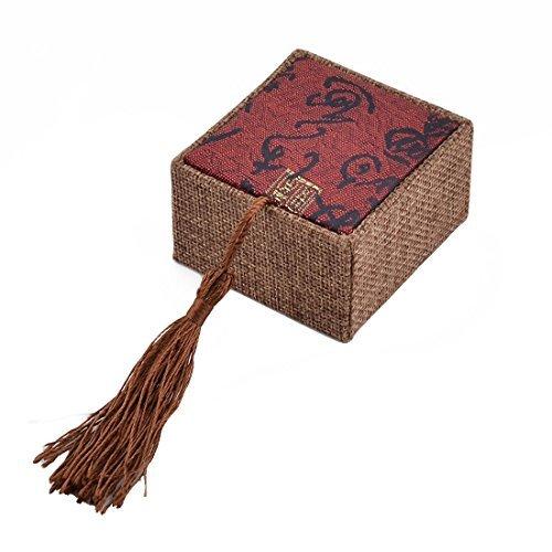 eDealMax Coton lin Mariage Tassel Décor Bague Bijoux Porte-Cadeau Case Box 6,5 x 6 cm Rouge foncé