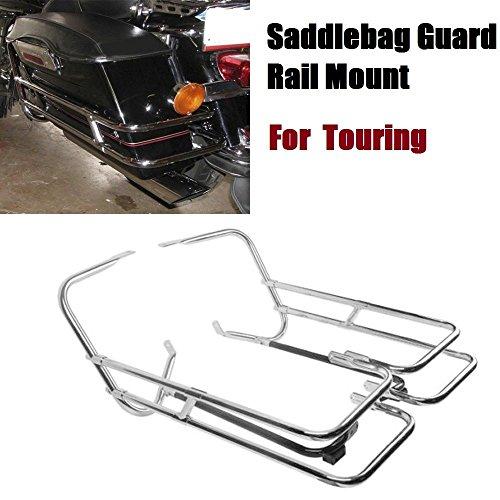 Chrome Saddlebag Side Rails - Metal harley street glide Saddlebag Guard Rail Mount For Harley Touring Road King Electra chrome