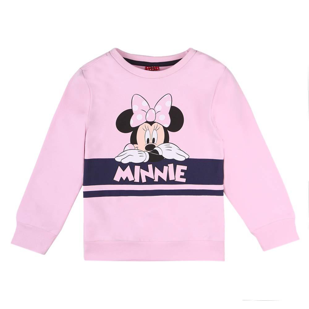 Disney Ragazza Minnie Mouse Felpa Sweat Maglione Rosa