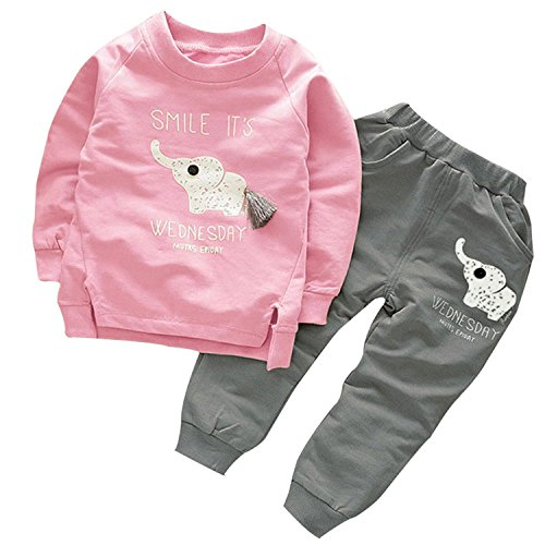 522730f3666e BomDeals Cute Elephant Print Toddler Baby Girls Clothes Set,Long Sleeve  T-Shirt +Pants Outfit (Age(2T), Pink) - Buy Online in Oman.