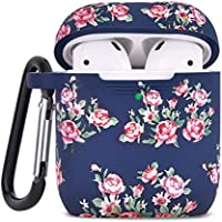 AIRSPO Wireless Charging Case Cover Compatible with Apple AirPods 1 & 2 (Navy Rose 2 in 1)