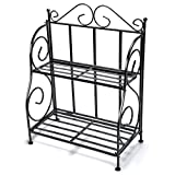 #8: Storage Rack, iSPECLE 2-Tier Foldable Rack, Spice Rack for Kitchen Countertop, Jars Storage Organizer Shelf Rack, Black