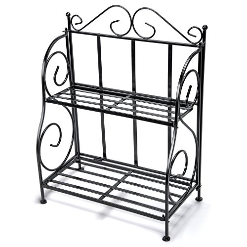Storage Rack, iSPECLE 2-Tier Foldable Rack, Spice Rack for Kitchen Countertop, Jars Storage Organizer Shelf Rack, Black Countertop Spice Rack