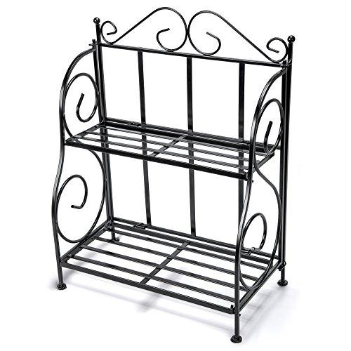 Storage Rack, iSPECLE 2-Tier Foldable Rack, Spice Rack for Kitchen Countertop, Jars Storage Organizer Shelf Rack, - Rack Countertop