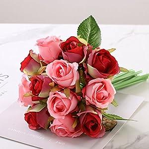 12PCS/Lots Artificial Rose Flowers Wedding Bouquet Royal Rose Silk Flowers For Home Decoration Wedding Party Decor 2