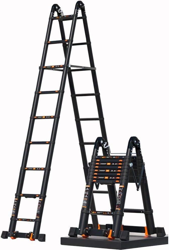 XEWNEG Multi-función Escalera Extensión Aluminio, Escalera Portátil Ingeniería Al Aire Libre Plegable del Ático, con Cerradura De Seguridad Y Ruedas, Barra De Equilibrio De Carga, 330lbs: Amazon.es: Hogar