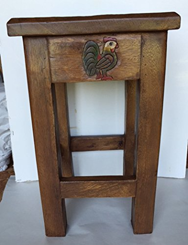 Rooster Hand Carved and Hand Painted Wooden Stool / Table / Plant Stand