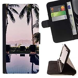 Momo Phone Case / Flip Funda de Cuero Case Cover - Árboles piscina Beach Yacht Ver - HTC One M9