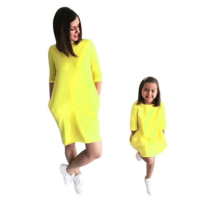 Mutter und Tochter Kleid,LUCKDE Partnerlook Familie Shirtkleid ...