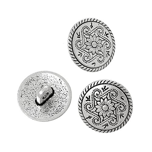 (PEPPERLONELY Brand 10PC Antique Silver Metal Shank Button Round Single Hole Flower Pattern 15mm)