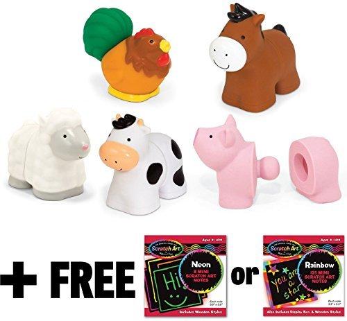 Melissa & Doug K's Kids Pop Blocs Farm Animals + FREE Scratch Art Mini-Pad Bundle [91961] ()