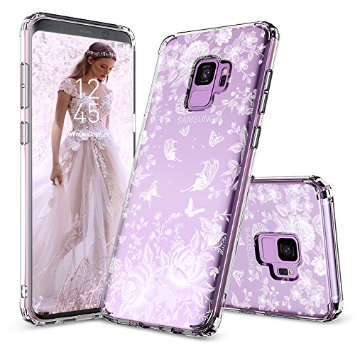 (Galaxy S9 Case, Galaxy S9 Case Cover, MOSNOVO White Roses Garden Floral Printed Flower Clear Design Plastic Back Hard Case with Soft TPU Bumper Protective Case Cover for Samsung Galaxy S9 (2018))