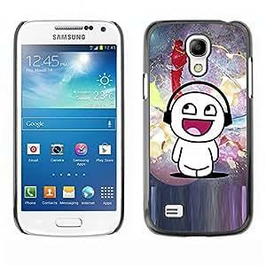 Paccase / SLIM PC / Aliminium Casa Carcasa Funda Case Cover para - Cartoon Mand White Art Music Love Happiness - Samsung Galaxy S4 Mini i9190 MINI VERSION!