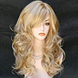 Wigbuy Blonde Wigs Wavy Curly 24inche Long Heat Resistant Fiber Cosplay Costume Party Hair Wigs for Women (Blonde)