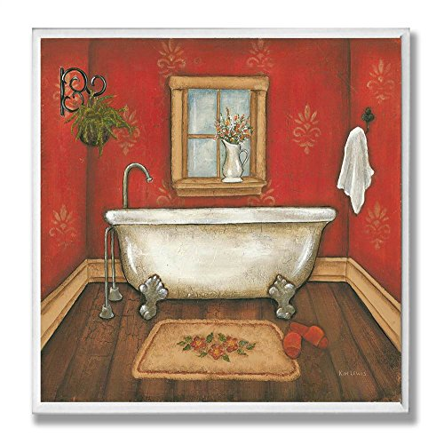 The Stupell Home Decor Collection Red with Tub Bathroom Wall Plaque