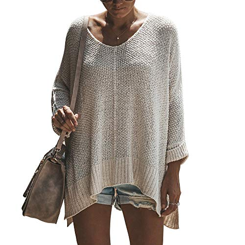 Exlura Women's Off Shoulder Casual V Neck Sheer Loose Oversized Pullover Sweater High Low Knitted Jumper ()