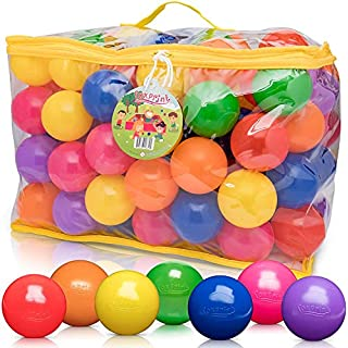 FoxPrint Soft Plastic Kids Play Balls – Non Toxic, 200 Phthalate & Bpa Free - Crush Proof & No Sharp Edges; Ideal for Baby or Toddler Ball Pit, Kiddie Pool, Indoor Playpen & Parties,