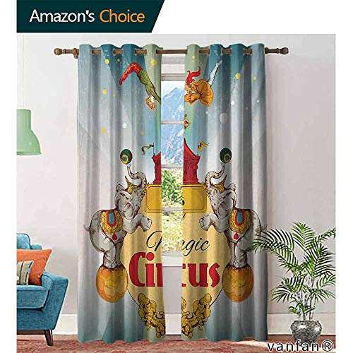 Big datastore home Circus Curtains for Girls Bedroom,Magic Circus Tent Show Announcement Vintage Style Aerialist Acrobat PerformanceRoom Darkening,Multicolor W84 x L96 -