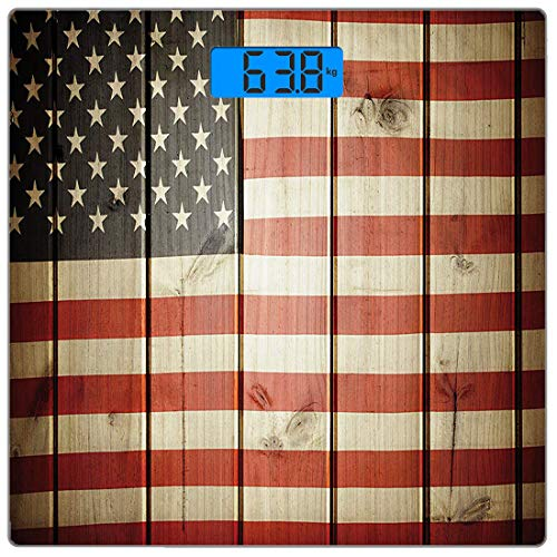 Precision Digital Body Weight Scale American Flag Ultra Slim Tempered Glass Bathroom Scale Accurate Weight Measurements,USA Flag Over Vertical Striped Wooden Board Citizen Solidarity Kitsch - Over Scale Flag