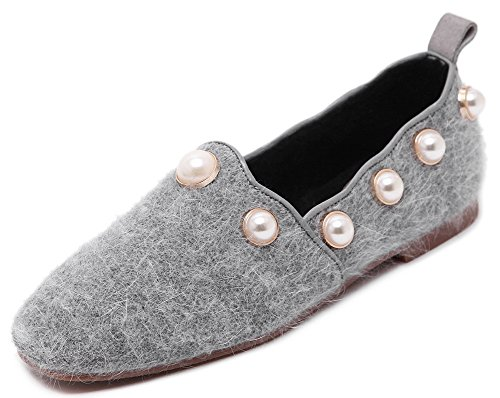 Women's Round Toe Flat Loafers Casual Shoes with Rhinestone Grey - 5